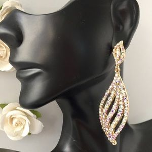 NEW GOLD AB STONE WEDDING PROM FORMAL EARRINGS